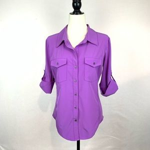 Lucy Button-up Purple Shirt Size L